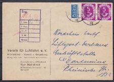 Bund Mi Nr. 125 MeF Postkarte, M. Gladbach Luftfahrte e.V. - Dortmund 1953