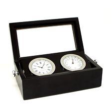 Bey Berk Chrome Clock & Thermometer in Black Box w/ Glass Top