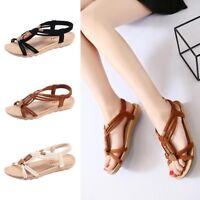 Sandalias de Mujeres Zapatos Trenza Perla Playa Bohemia Verano Talla Grande
