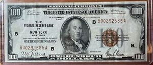1929 $100 Brown Seal Federal Reserve Bank Note of New York National Currency