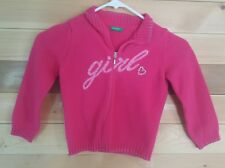 BENETTON Girls 4 Cardigan Sweater pink 100% wool glitter Italy