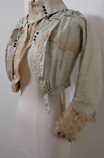 Antique Victorian Jacket Chiffon Silk Velvet Ruffle EDIE ADAMS Bolero XXS