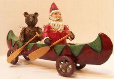 """Santa in a Canoe with Bear Kayak Cabin Decor Wheels Turn Metal 9 1/2"""" Long"""