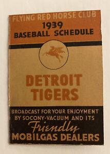 vintage 1939 Detroit Tigers/Mobilgas baseball schedule
