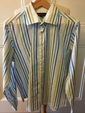 BEN SHERMAN Coloured Stripe Long Sleeve Button Down Collared 100% Cotton Shirt L