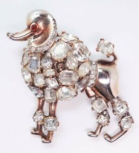 Vintage Alfred Philippe Crown Trifari Sterling Silver Jeweled Poodle Brooch