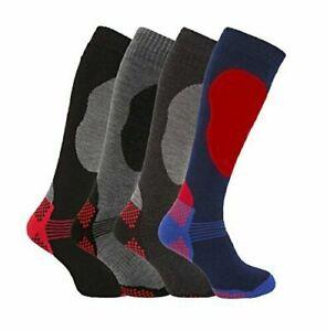 Men's 4 Pairs of Soft Thermal Padded Long Winter Ski Socks Snowboarding Hiking