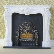 Dolls House Miniature 1 12th Lounge Resin White Rococo Style Fireplace Not 100