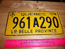 1974 Quebec Canada Metal License Plate, good shape, cool collectible