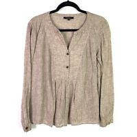 Lafayette 148 Womens Sz M top Blouse linen Half Front Button brown pleated