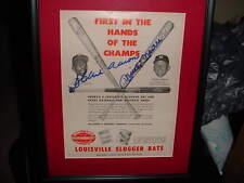 HANK AARON &MICKEY MANTLE dual signed AUTO 1956 louisville slugger ad FRAMED/MAT