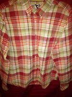 Rockies mens Western plaid button down size Lg long sleeve multi color