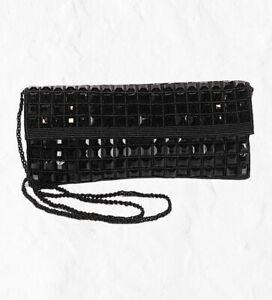 Expressions NYC Black Beaded Sequin Evening Clutch - With Chain Mini Retail $71
