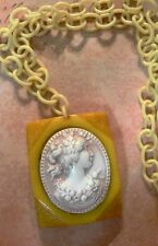 "Vtg 30s 2.5""Bakelite Celluloid White Overdyed Cameo Butterscotch Necklace-Estate"