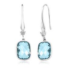 Aquamarine Earrings Drop Dangle Briolette Gems 18k White Gold Plated 2.0 Ct