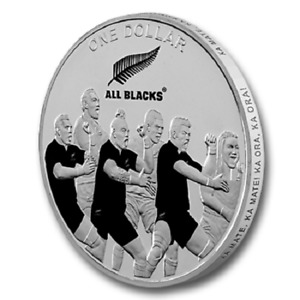 New Zealand- 2011 - 1 OZ Silver Proof Coin- Rugby Haka - ALL BLACKS RUGBY