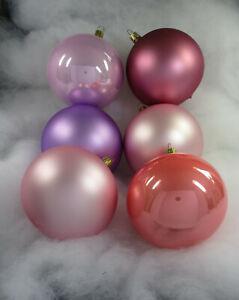 6 wunderschöne Weihnachtskugeln 10cm mundgeblasen Glas, lila rose BUNT MIX (S40)