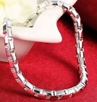 "925 Sterling Silver Bracelet Womens Large 8"" Round Box Link Chain wGiftPkg  D615"