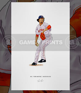 Pedro Martinez Boston Red Sox Baseball Illustrated Print Poster Art