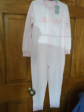 PINK STRIPY ...girls jersey  all in one nightwear age 6/7 years new