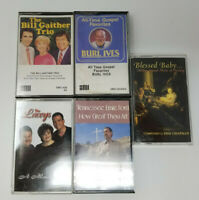 Set of 5 Cassettes Gospel Bill Gaither Trio Burl Ives Tennessee Ernie Ford Lacey