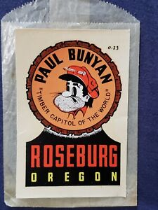 VTG LINDGREN BROTHERS Paul Bunyan Roseburg OR Cartoon travel window auto decal