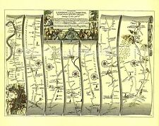 London to Marlborough inc. Brentford  Replica 17c OGILBY  Old Road Map  Print