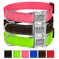 Nylon Dog Collar Personalised Metal Buckle Custom Engraved Pet ID Name Pink Red