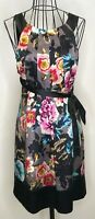 Stunning TED BAKER Ladies Black Floral 100% Silk Occasion Dress Size 2 UK 10