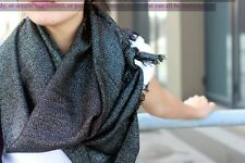 luxurious Ladies Women Wool Silk Shawl Wrap Scarf, short fringe,black and silver