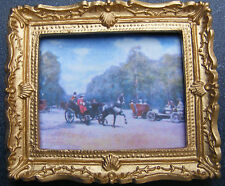 1:12 Framed Picture (Print) Of A Horse & Carriage Dolls House Miniature Art JD
