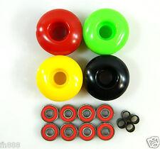 Blank Pro 52mm Rasta Skateboard Wheels + Abec 7 Bearings + Spacers