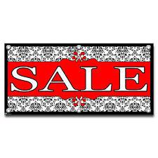 Sale Elegant Damask Black Red - Retail Store Business Sign Banner