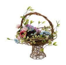 RAZ Imports~SPRING MIXED FLORAL BIRD NEST BASKET Arrangement Vine Basket~Easter