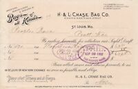 U.S. H & L CHASE BAG CO. 1902 St. Louis Bags of All Kinds Paid Invoice Ref 45323