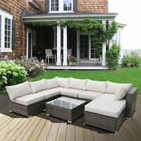 7/8PC Rattan Wicker Sofa Set Sectional Couch Cushioned Furniture Patio Outdoor