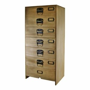 Tall Wooden Chest Of 7 Drawers Narrow Bedroom Storage Cabinet Tallboy Cupbaord