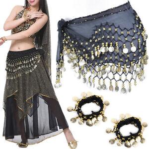 Black Gold Coin Belly Dance Hip Skirt Scarf Wrap Belt Hipscarf with Bracelets US