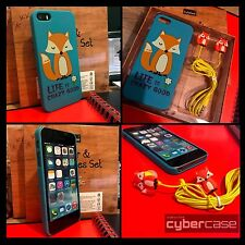 iPhone 5, 5S & SE Funky Fox Case inc Earbuds Safe Cover Blue