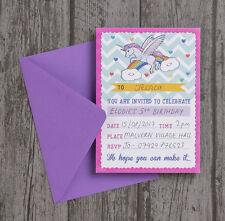 Confezione da 10 RAINBOW UNICORNO Festa di Compleanno Baby Shower inviti & Buste