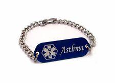 Children Medical Alert Bracelet ID Custom Engraved Asthma 4 Colors Asthma
