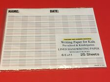 Writing Paper for Kids -  Lined Handwriting Practice w/ Gray Blocks  25 sheets