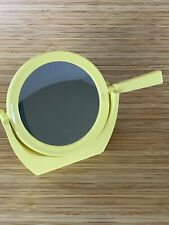 Vintage Hand Mirror Chartreuse Yellow Green Mid Century Style Unique  w Stand
