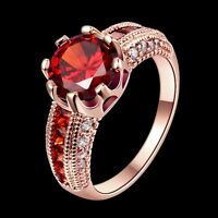 18K Gold GP Lady's Ruby Red Swarovski Crystal Wedding Engagement Ring Gift Size8
