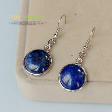 earrings Silver Round Stone Lapis Lazuli Blue Class Retro BB 13
