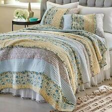 SHABBY COTTAGE PATCHWORK PINK ROSES LIZZY CHIC FULL DOUBLE QUILT SET 3 PC