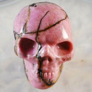 W077 48x37x31 Rhodonite Carved Skull Display Decoration