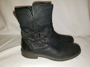 UGG Australia Simmens Womens 9.5 Black Leather Fur Lined Waterproof Boot 1008439