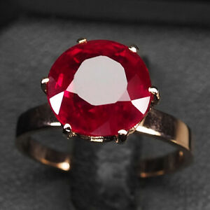 RUBY BLOOD RED ROUND 5.40CT.SAPP 925 STERLING SILVER ROSE GOLD RING SZ 6 JEWELRY