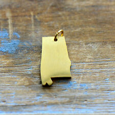 Alabama State Charm - Brushed 24k Gold Plated Stainless Steel Pendant - Minimal